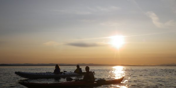 Kayakers silhouetted by the sunset